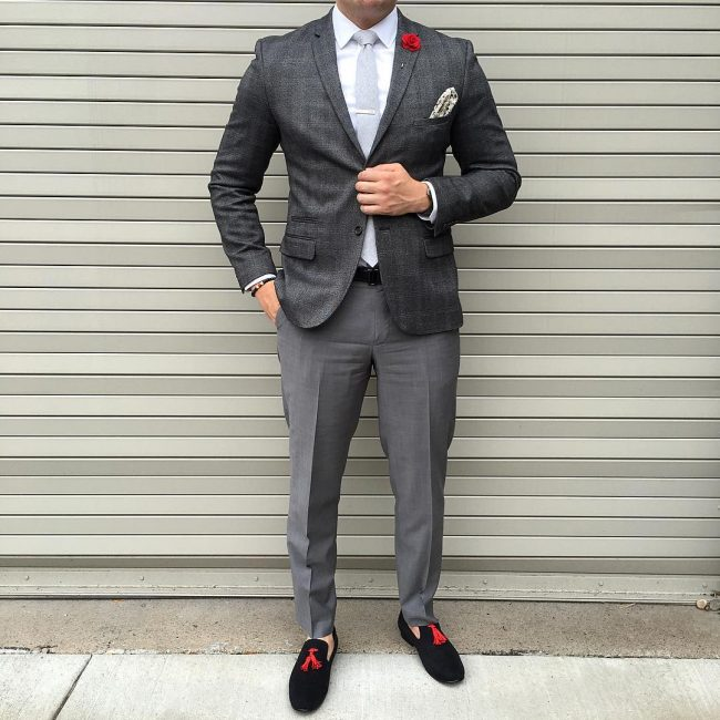 20 Black Loafers & Fitting Grey Checkered Blazer