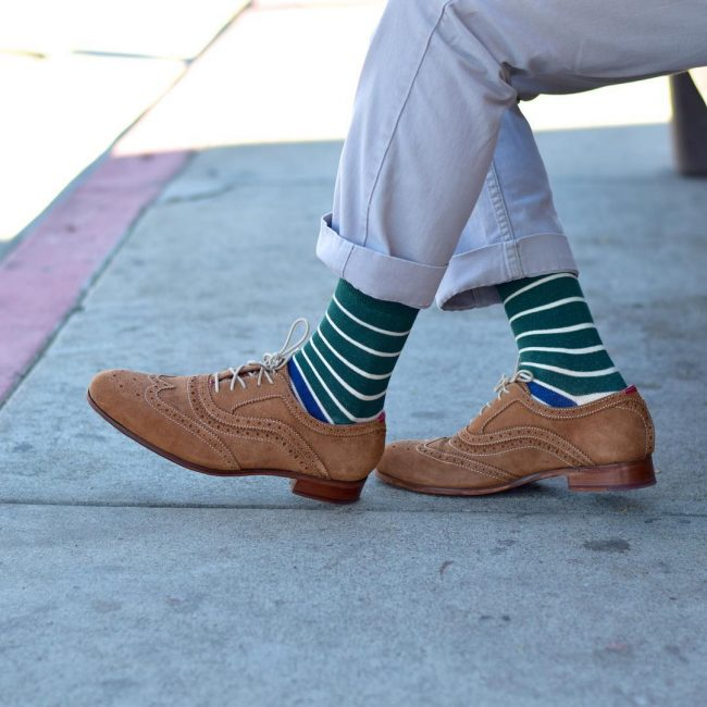 20 Brown Brogue Suede Shoes & Light Blue Pants