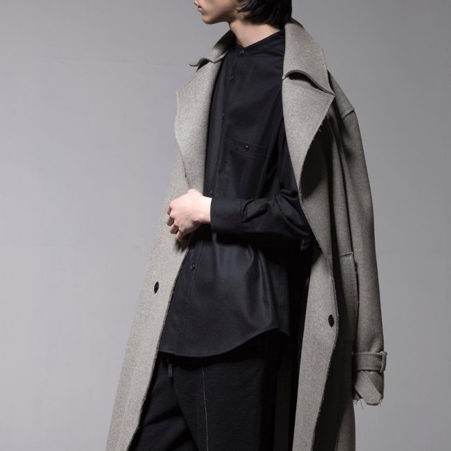 20 Long Trench Coat and Black Shirt
