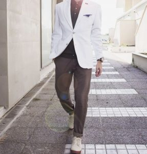 20 White Blazer with Brown Trousers