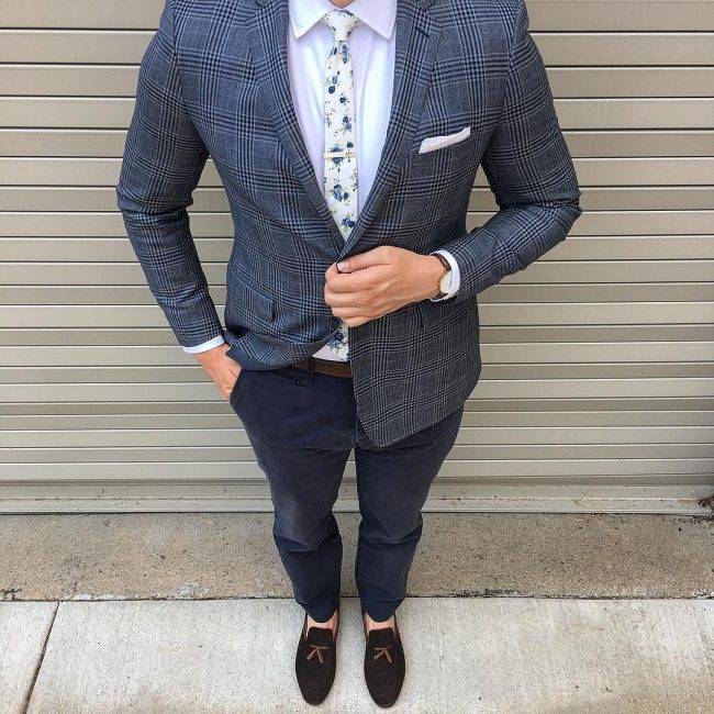 21 Brown Loafers & Grey Checkered Blazer
