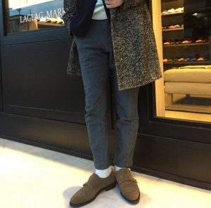 21 Brown Suede Monk Shoes & Long Grey Coat