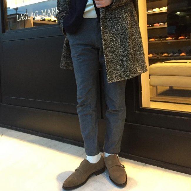 21 Brown Suede Monk Shoes & Long Grey Coat