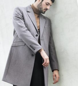 21 Grey Long Coat & Brown Full-Neck Sweater