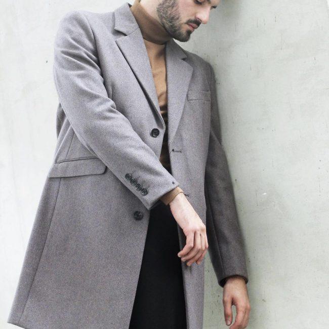21 Grey Long Coat & Brown Full-Neck Sweater