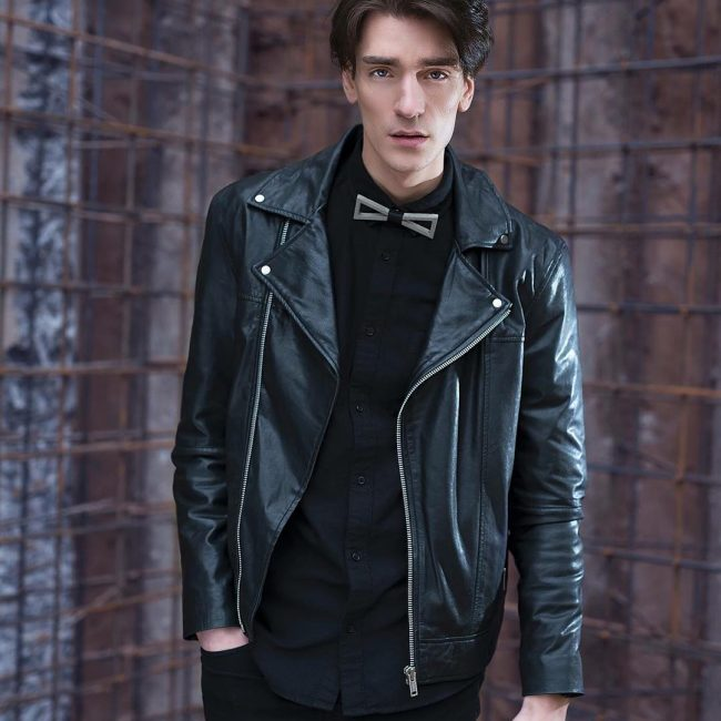 21 Leather Jacket and Dress Shirt