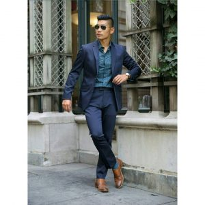 21 Navy Blue Suit & Brown Leather Shoes