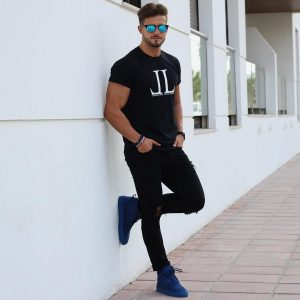 22 All Black Outfit and Blue Shoes