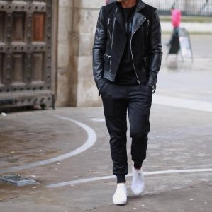 22 Black Joggers and Black Leather Jacket