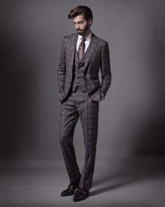 22 Checked Grey Three Piece Brioni Suit