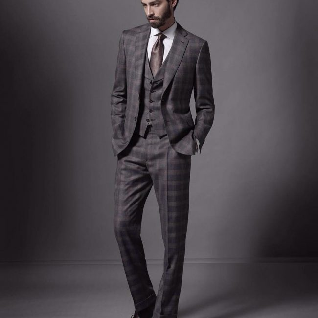 22 Checked Grey Three Piece Brioni Suit