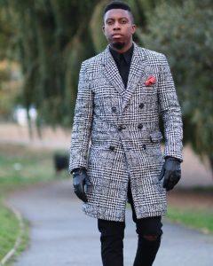22 Checkered Grey Long Coat & Torn Slim Fit Black Jeans