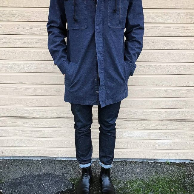 22 Dry Blues Jeans & Long Matching Light Coat