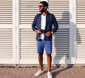 22 Squared Blue Shirt & Blue Shorts