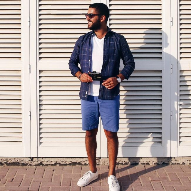 22 Squared Blue Shirt & Blue Shorts
