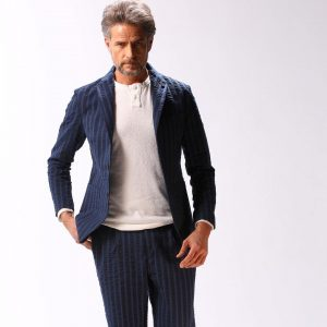 22 Stripped Designer Blue Suit