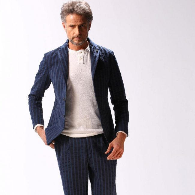 22 Stripped Designer Blue Suit