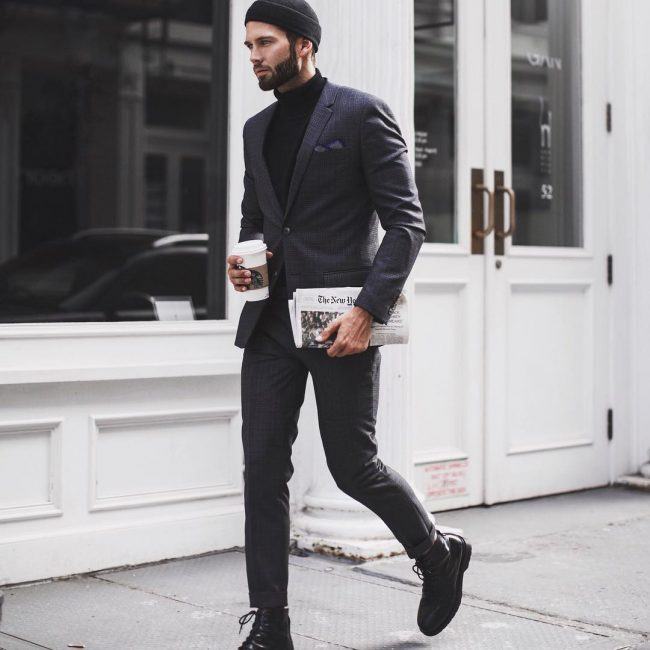 22 Turtleneck Under Charcoal Grey Suit