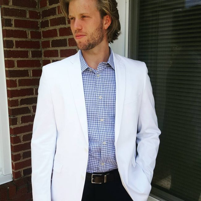 22 White Blazer with a Checked Long Sleeved Shirt