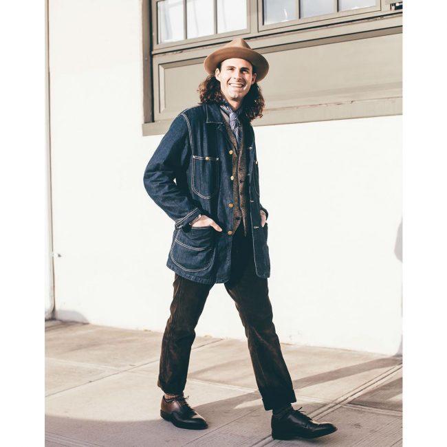 23 Black Leather Shoes & Long Blue Jeans Coat