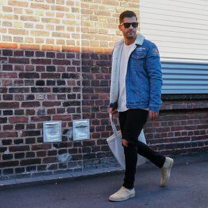 23 Black Rugged Skinny Jeans with Woolen Denim Jacket