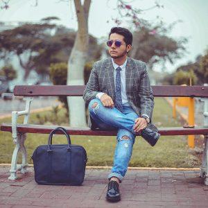 23 Blue-White Checkered Skinny Tie