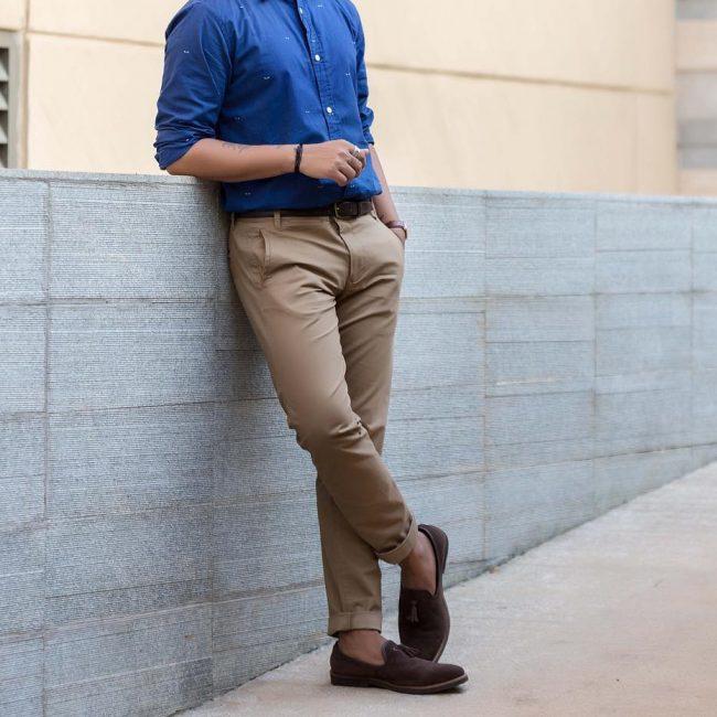 23 Dark Brown Suede Loafers & Blue Shirt