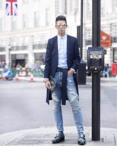 23 Ripped Jeans and Overcoat