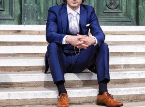 23 Shiny Blue Suit & Brown Shoes