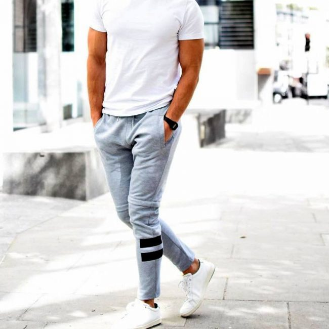 23 Styled Grey Joggers and White T-Shirt