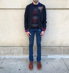 24 Brown Suede Shoes & Blue Styled Jacket