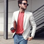 24 Cream White Blazer with Dark Grey Trousers