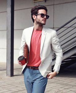 24 Cream White Blazer with Dark Grey Trousers
