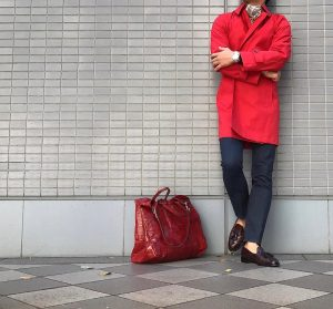 24 Dark Brown Leather Shoes & Red Coat