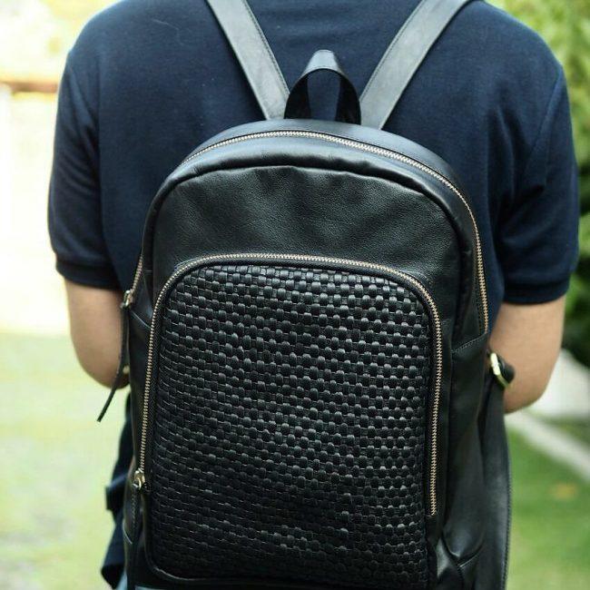 24 Designer Black Backpack & Faded Jeans Pants