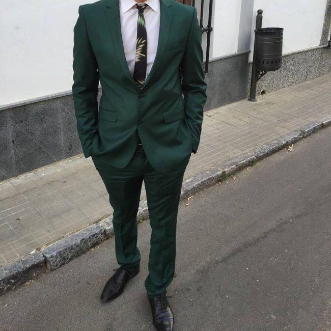 24 Green Designer Suit & White Shirt