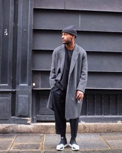 24 Grey Long Coat & Baggy Black Pants