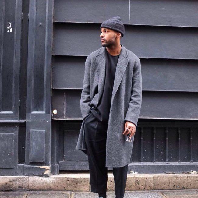 24 Grey Long Coat & Baggy Black Pants