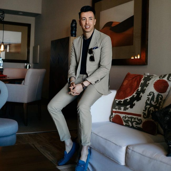 24 Grey Suit and Black Shirt with Blue Shoes