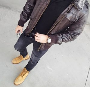 24 Light Brown Casual Boots & Dark Brown Leather Jacket