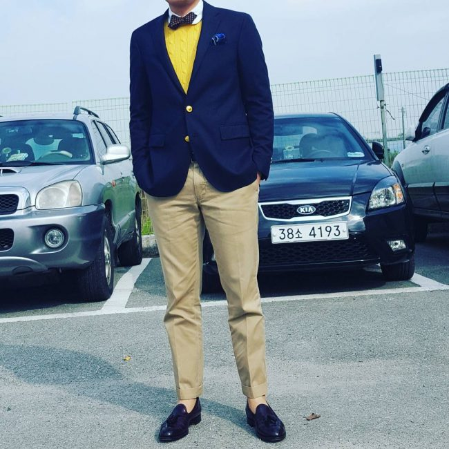 25 Black Full Strap Loafers & Blue Blazer