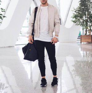 25 Black Jogger Pants and Cream White Jacket