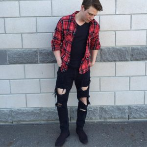 25 Black Rugged Skinny Jeans with Checkered Shir