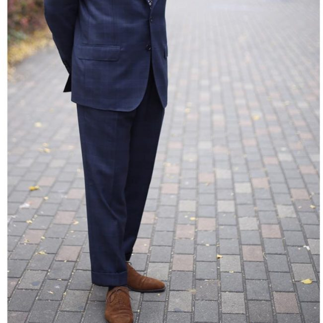 25 Brown Suede Shoes & Dark Blue Suit
