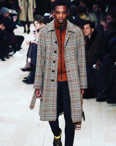 25 Checkered Grey Long Coat & Slim Fit Dark Blue Pants