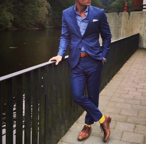 25 Dark Blue Suit & Tan- Brown Leather Shoes