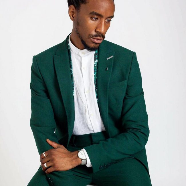 25 Green Cotton Suit & Brown Loafers
