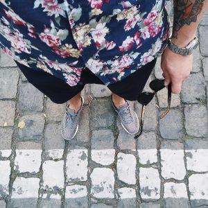 25 Navy Floral Shirt and Black Shorts