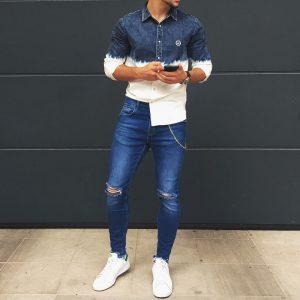 25 White-Blue Denim Blue Shirt & Torn Slim Fit Blue Jeans