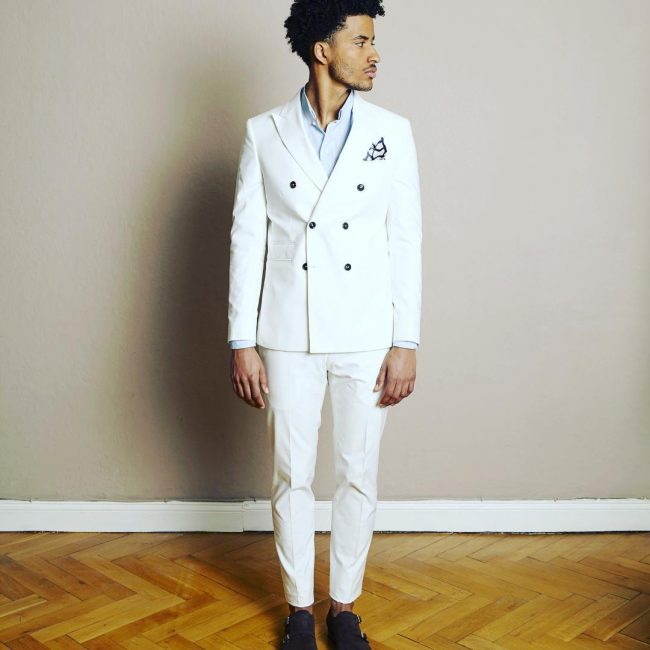 25 White Double Breasted Suit